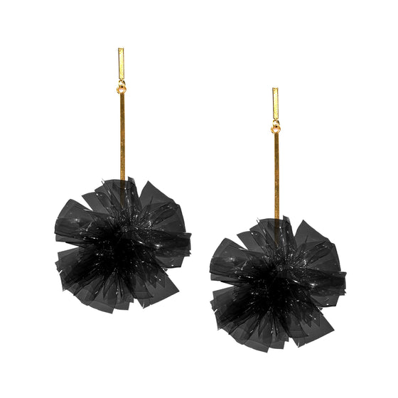 "Black 2"" Vinyl Pom Pom Earrings, Earring, Tuleste, Tuleste"