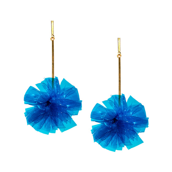 "Blue 2"" Vinyl Pom Pom Earrings, Earrings, Tuleste, Tuleste"