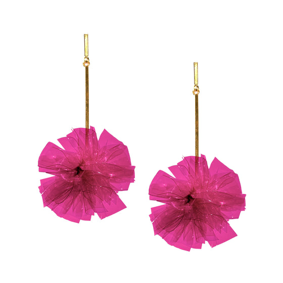 "Fuchsia 2"" Vinyl Pom Pom Earrings, Earrings, Tuleste, Tuleste"