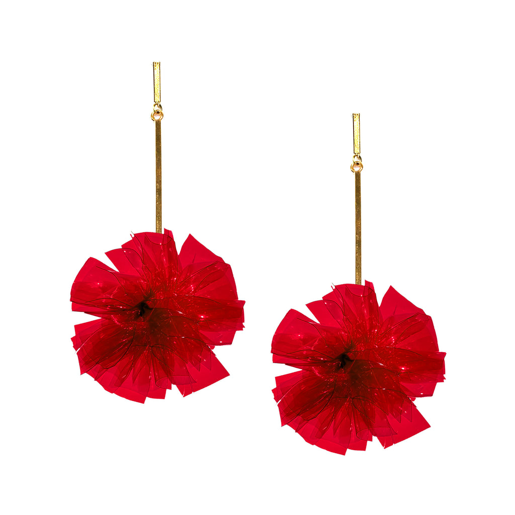 "Red 2"" Vinyl Pom Pom Earrings, Earrings, Tuleste, Tuleste"