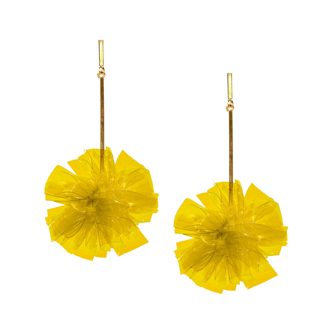 "Yellow 2"" Vinyl Pom Pom Earrings, Earrings, Tuleste, Tuleste"