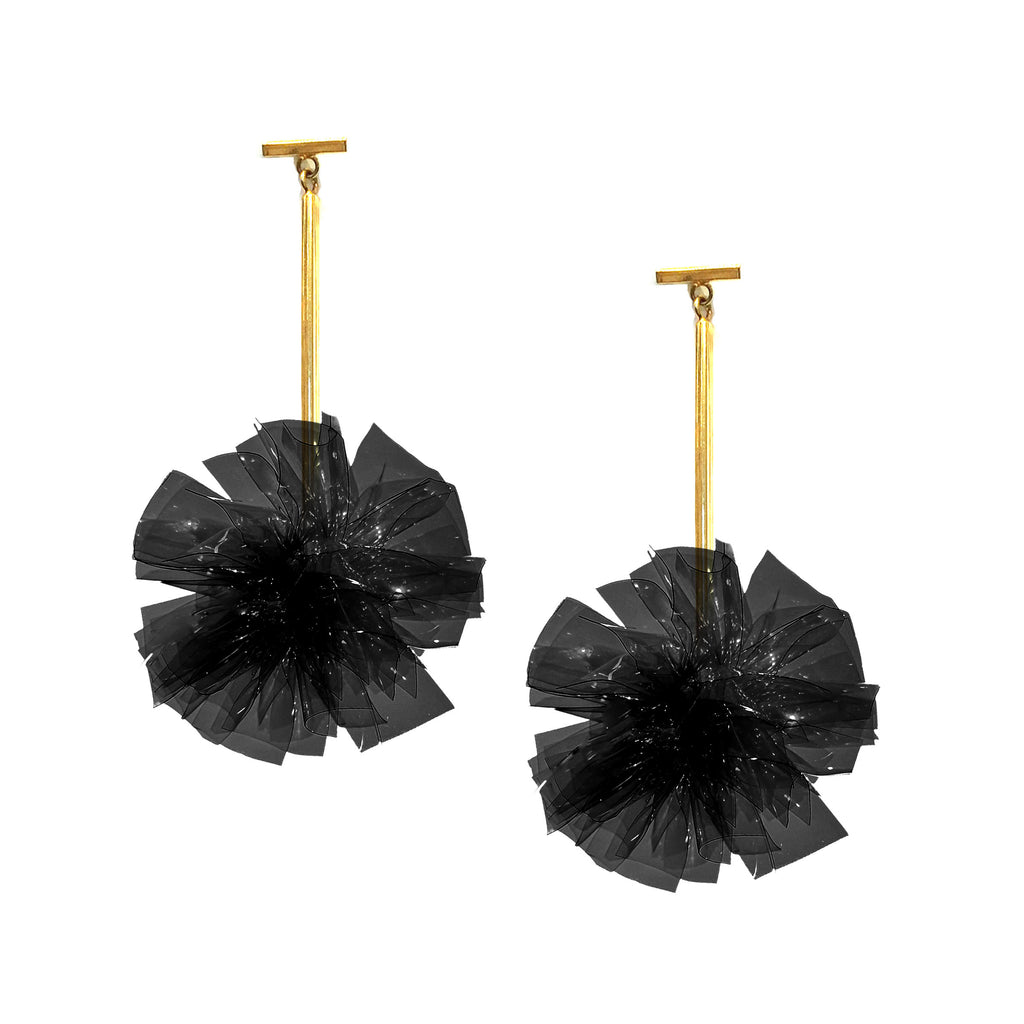 "Black 2"" Vinyl Pom Pom T Bar Earrings, Earring, Tuleste, Tuleste"