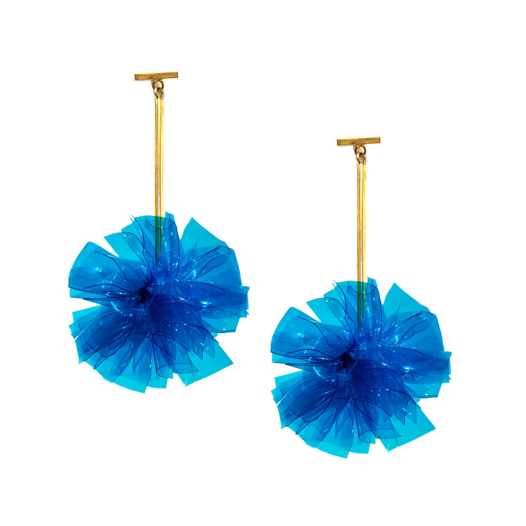 "Blue 2"" Vinyl Pom Pom T Bar Earrings, Earrings, Tuleste, Tuleste"