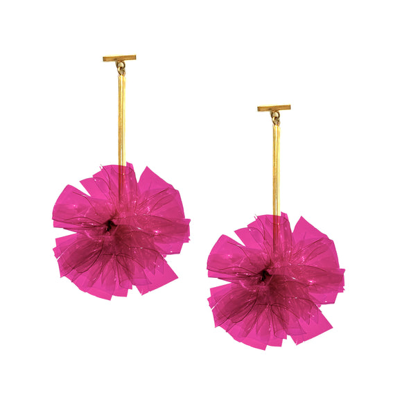 "Fuchsia 2"" Vinyl Pom Pom T Bar Earrings, Earrings, Tuleste, Tuleste"