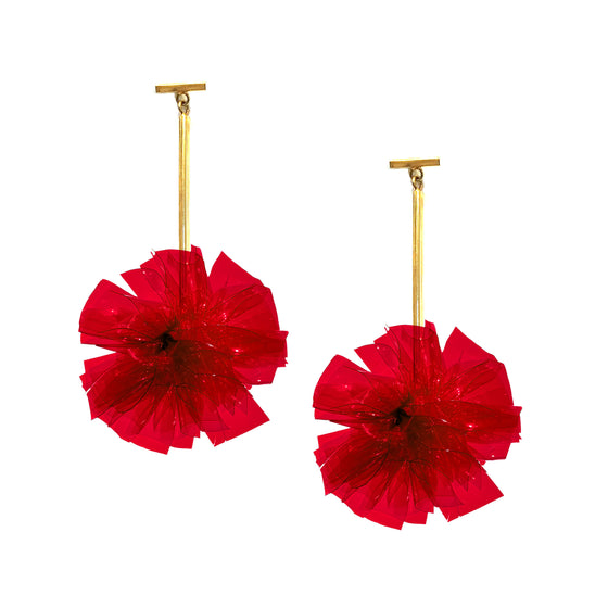 "Red 2"" Vinyl Pom Pom T Bar Earrings, Earrings, Tuleste, Tuleste"