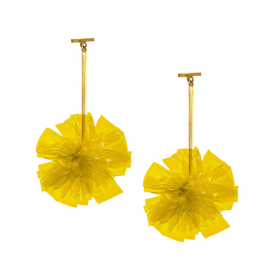 "Yellow 2"" Vinyl Pom Pom T Bar Earrings, earring, Tuleste, Tuleste"