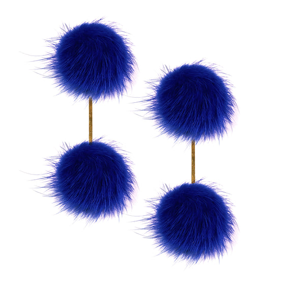 Cobalt Blue Mink Double Pom Pom Earrings