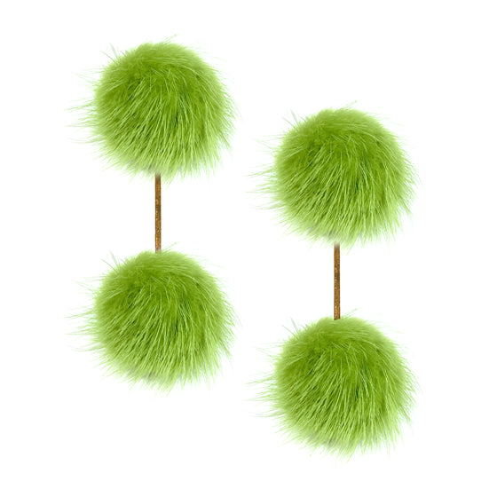 Green Mink Double Pom Pom Earrings