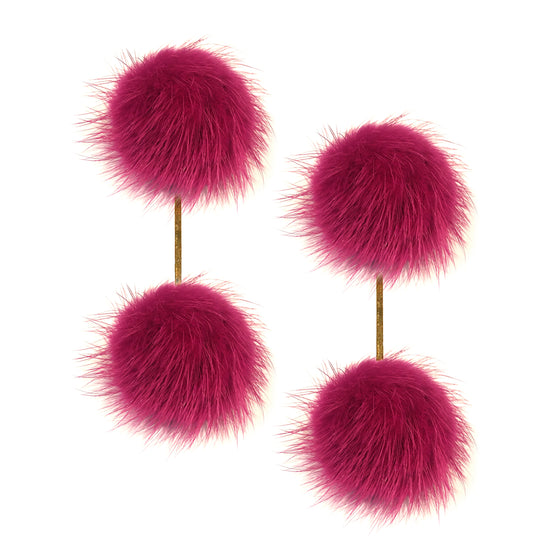 Mauve Mink Double Pom Pom Earrings