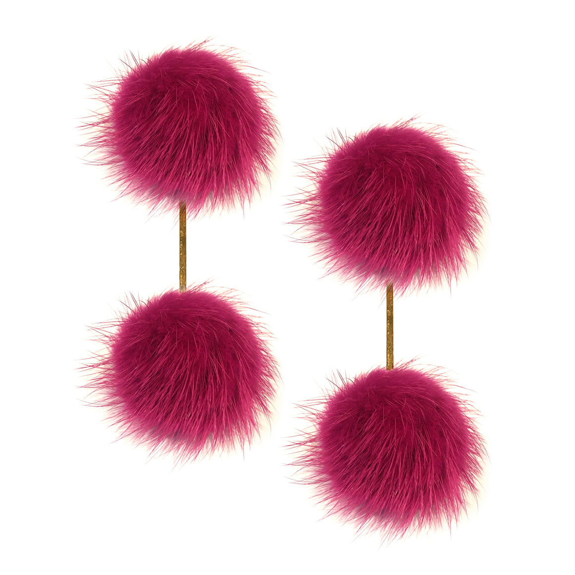 Wine Mink Double Pom Pom Earrings