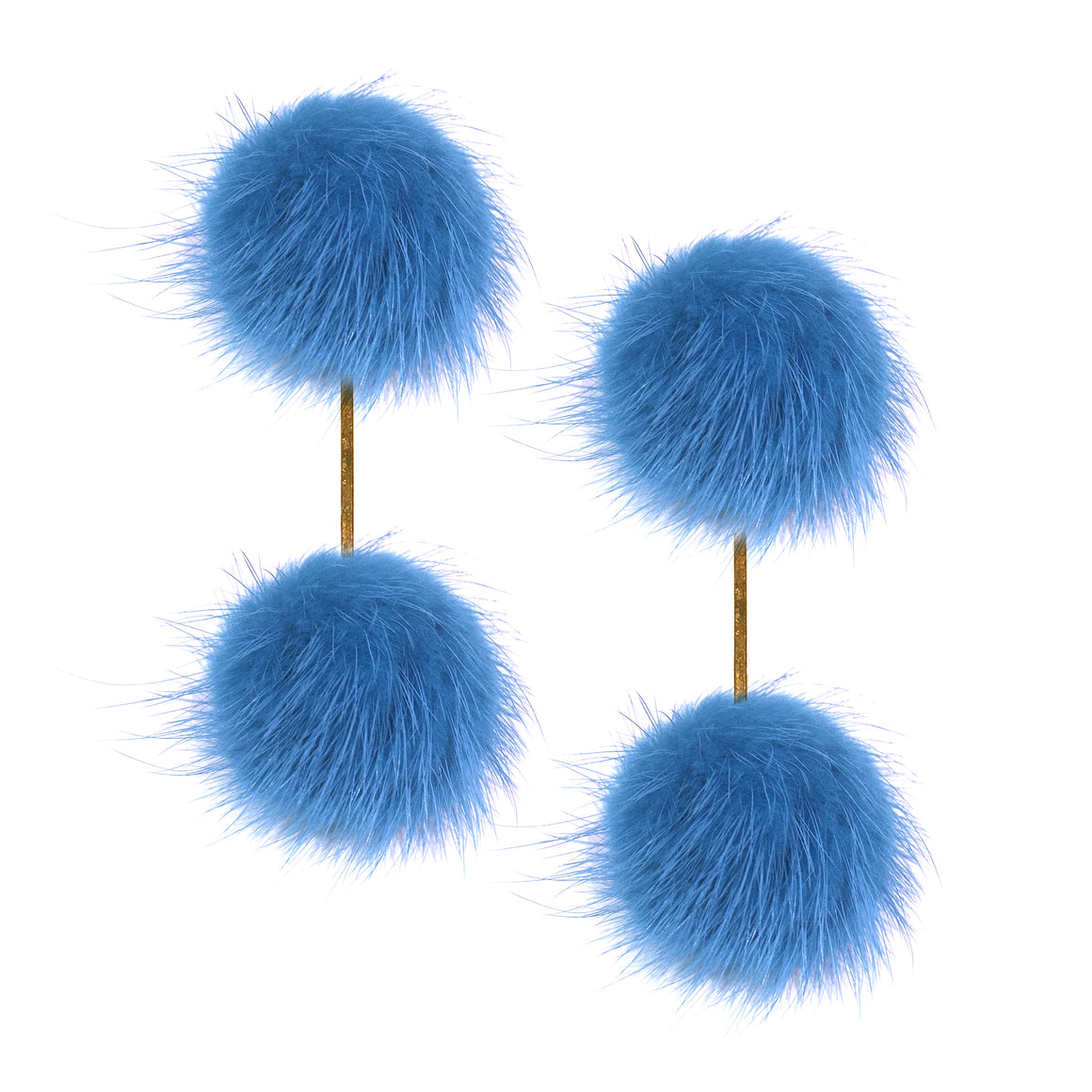 Light Blue Mink Double Pom Pom Earrings