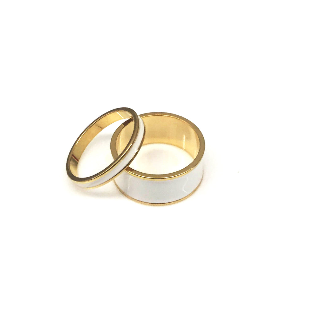 White Enamel Ring Set