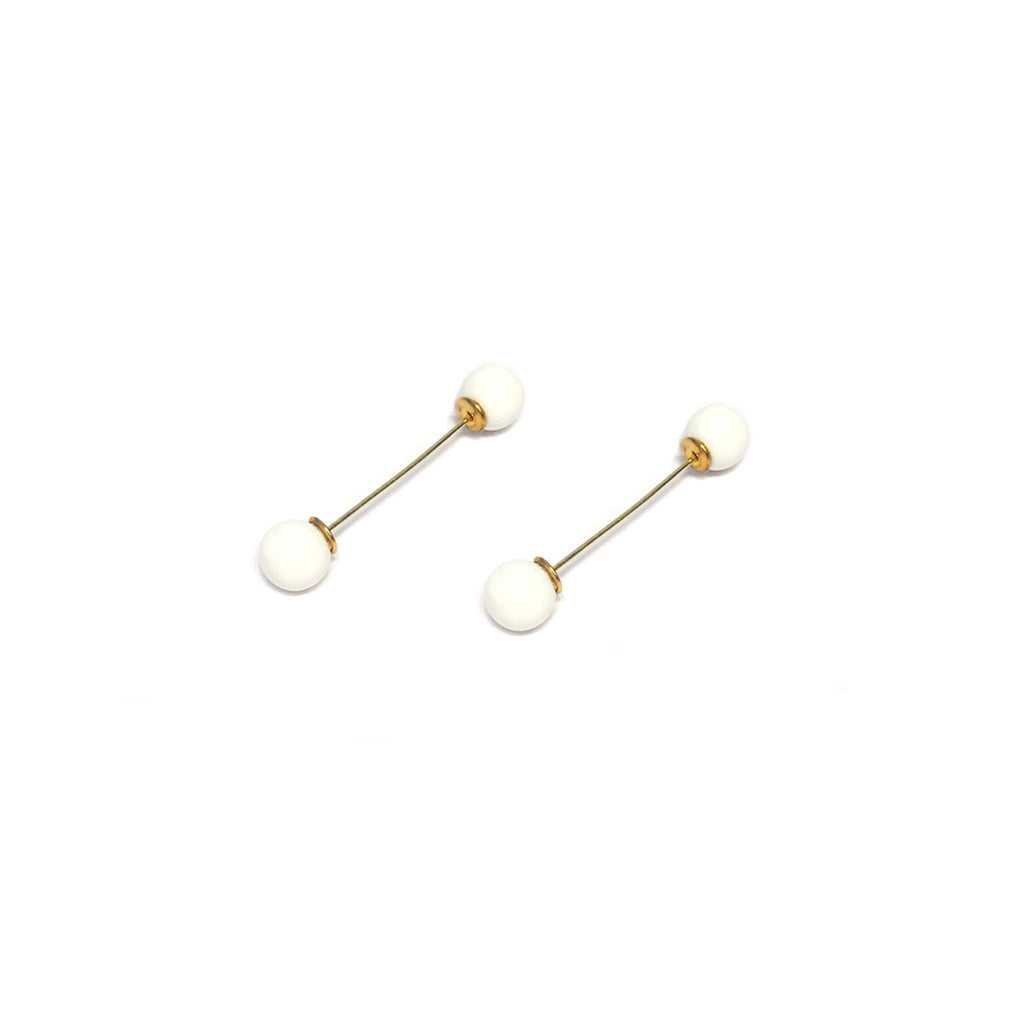 Gold/White Barbell Earring