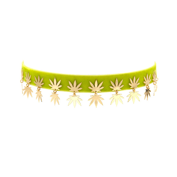 Green Leaf Drop Velvet Ribbon Choker, necklace, Tuleste, Tuleste