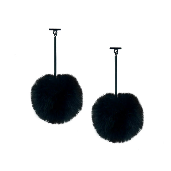 "SATU | Black 2"" Faux Fur T Bar Pom Pom Earrings, Earrings, Tuleste, Tuleste"