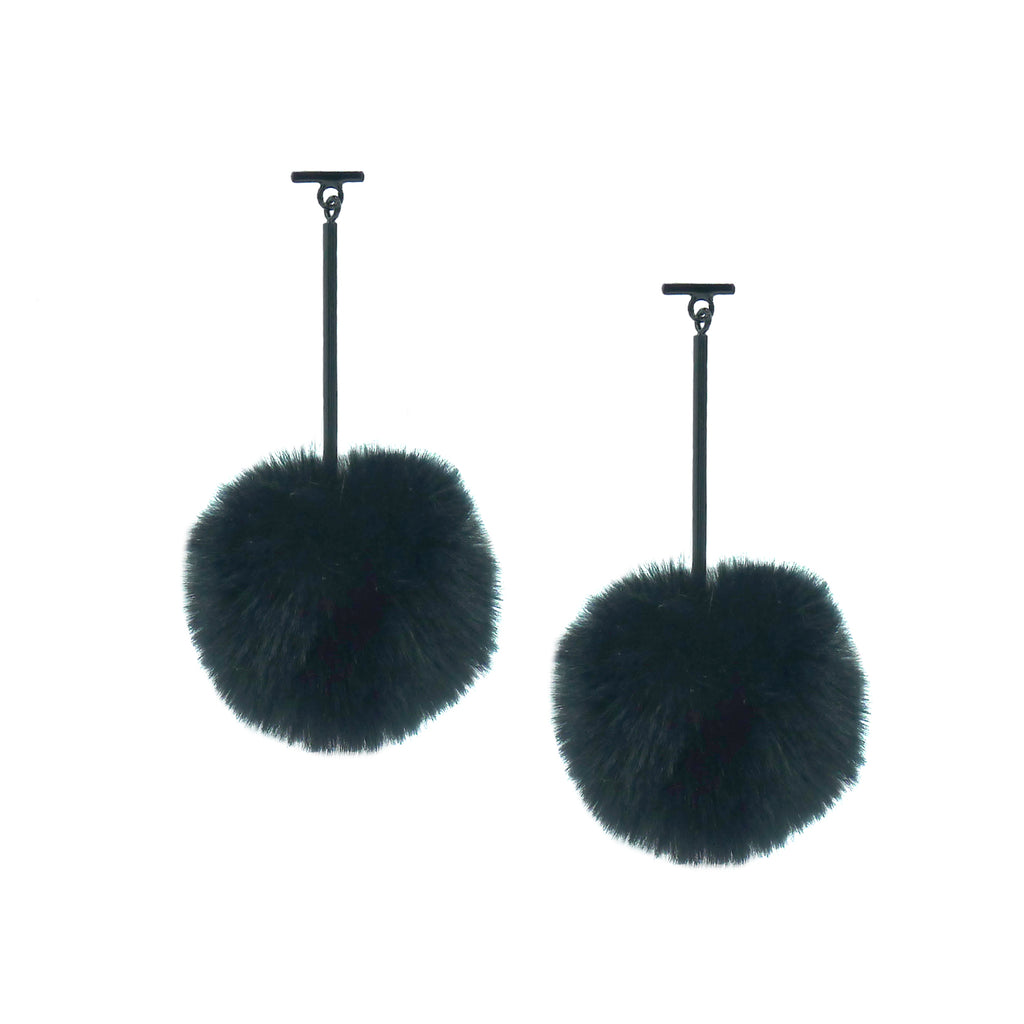 "SATU | Green 2"" Faux Fur T Bar Pom Pom Earrings, Earrings, Tuleste, Tuleste"