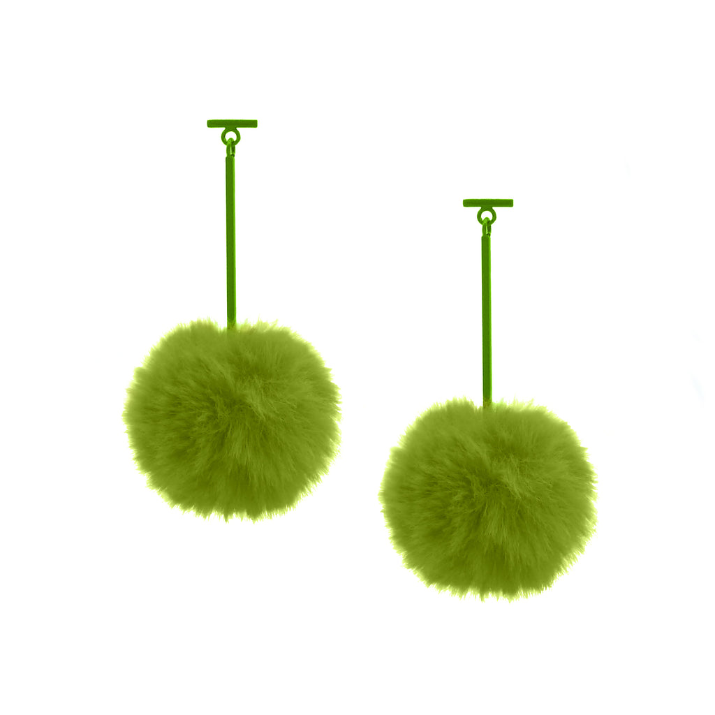 "SATU | Neon Green 2"" Faux Fur T Bar Pom Pom Earrings, Earrings, Tuleste, Tuleste"