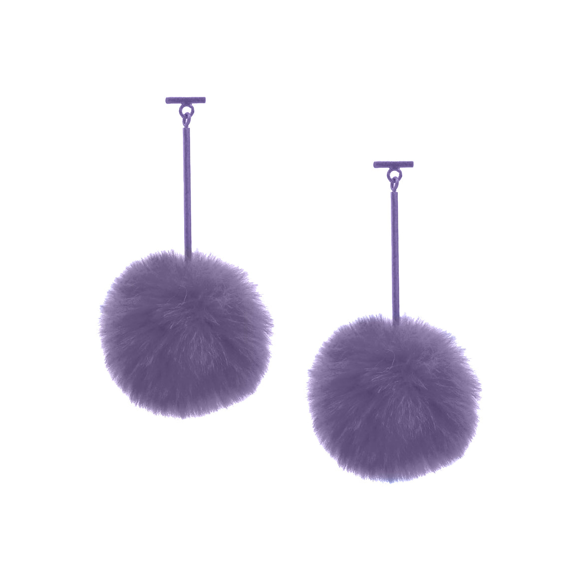 "SATU | Lilac 2"" Faux Fur T Bar Pom Pom Earrings, Earrings, Tuleste, Tuleste"