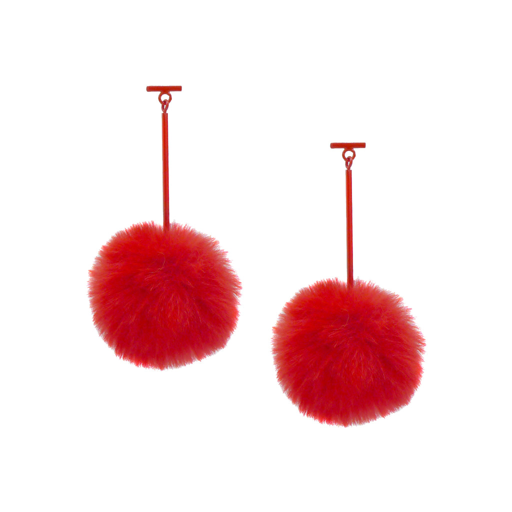 "SATU | Red 2"" Faux Fur T Bar Pom Pom Earrings, Earrings, Tuleste, Tuleste"