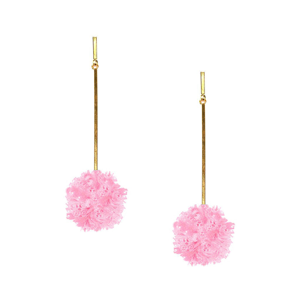 "Pink 1"" Lace Pom Pom Earrings, Earring, Tuleste, Tuleste"