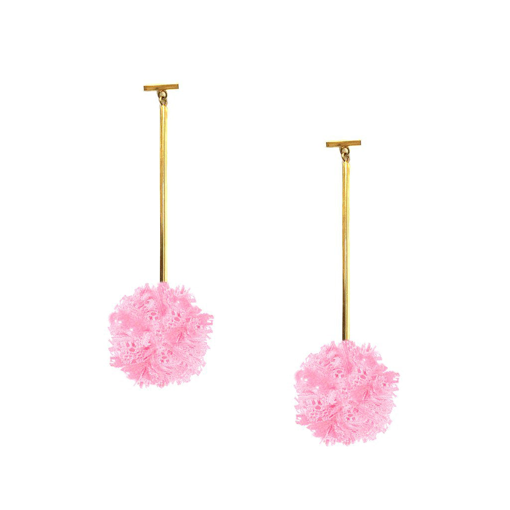"Pink 1"" Lace Pom Pom T Bar Earrings, Earring, Tuleste, Tuleste"