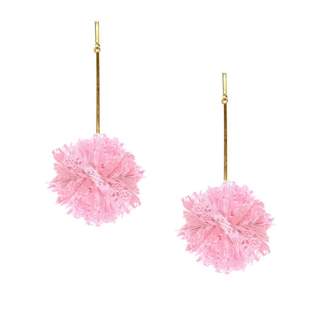 "Pink 2"" Lace Pom Pom Earrings, Earring, Tuleste, Tuleste"