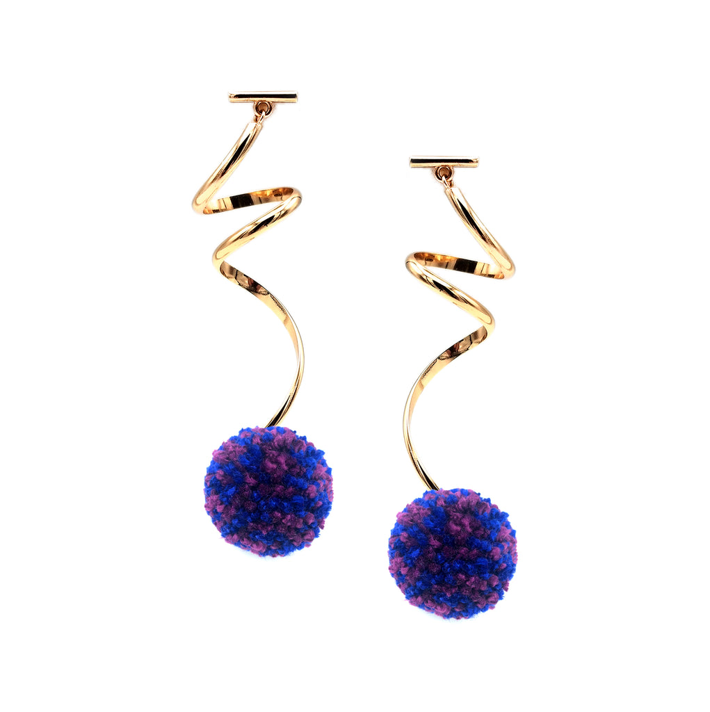"MIXED BERRY & ROYAL 1"" SPIRAL POM POM EARRINGS, Earrings, Tuleste, Tuleste"