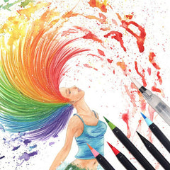 Watercolor Brush Pens Rainbow Hair Artwork