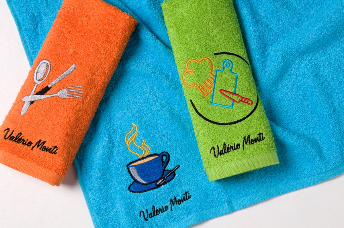 Terry Kitchen Towels VM Embroidered