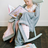 Light Pink Swirl Gray Lush Blanket