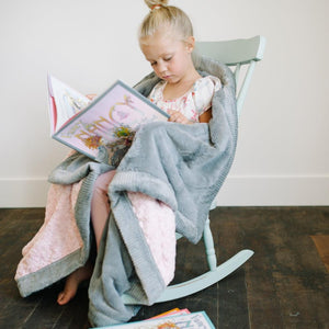 Light Pink Swirl Gray Lush Toddler to Teen Blanket