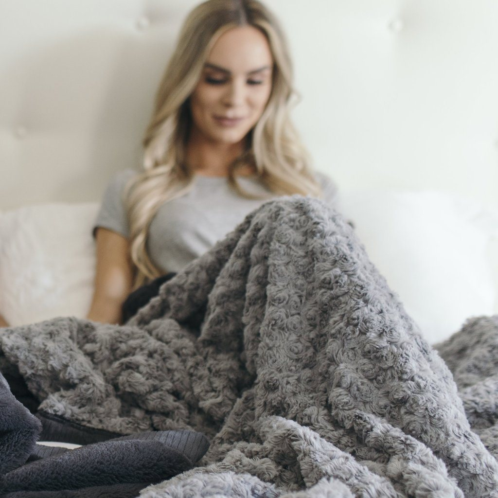 Gray Swirl Charcoal Lush Extra Large Blanket