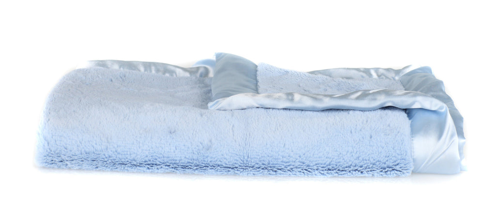 Light Blue Lush Satin Border Mini Blanket