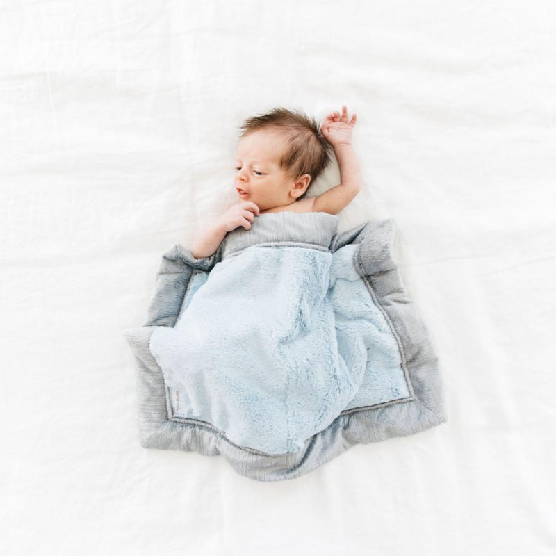 Light Blue Gray Lush Mini Blanket