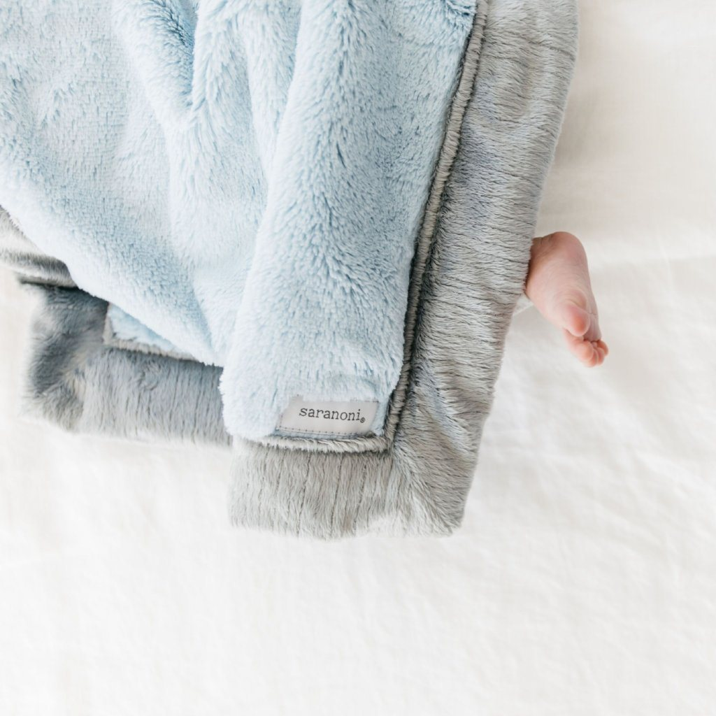 Light Blue Gray Lush Receiving Blanket
