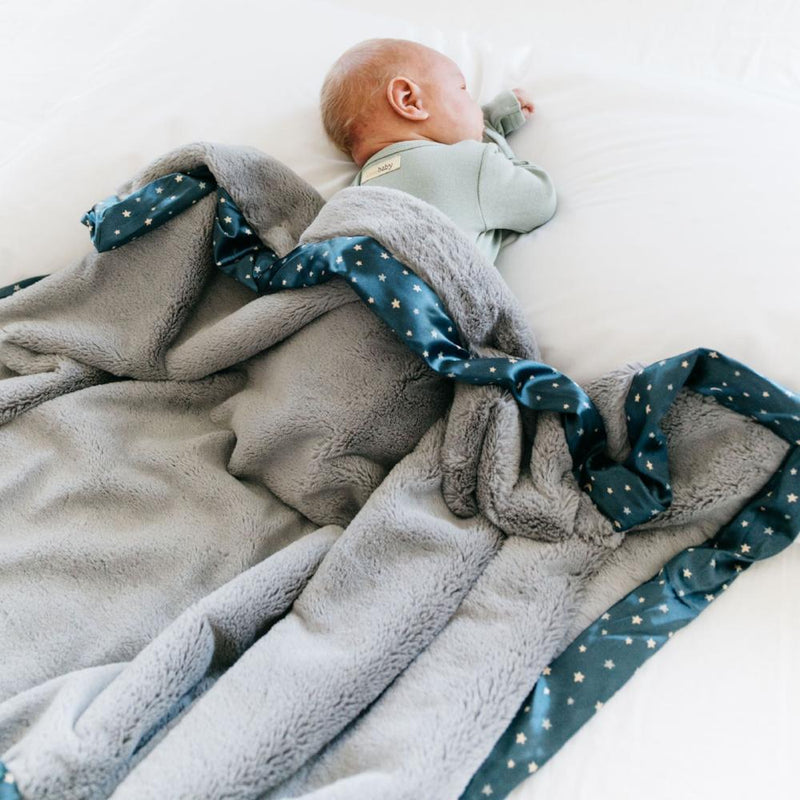 Navy Twinkle Star Satin Border Receiving Blanket