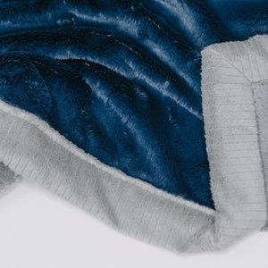 Navy Gray Lush Extra Large Blanket