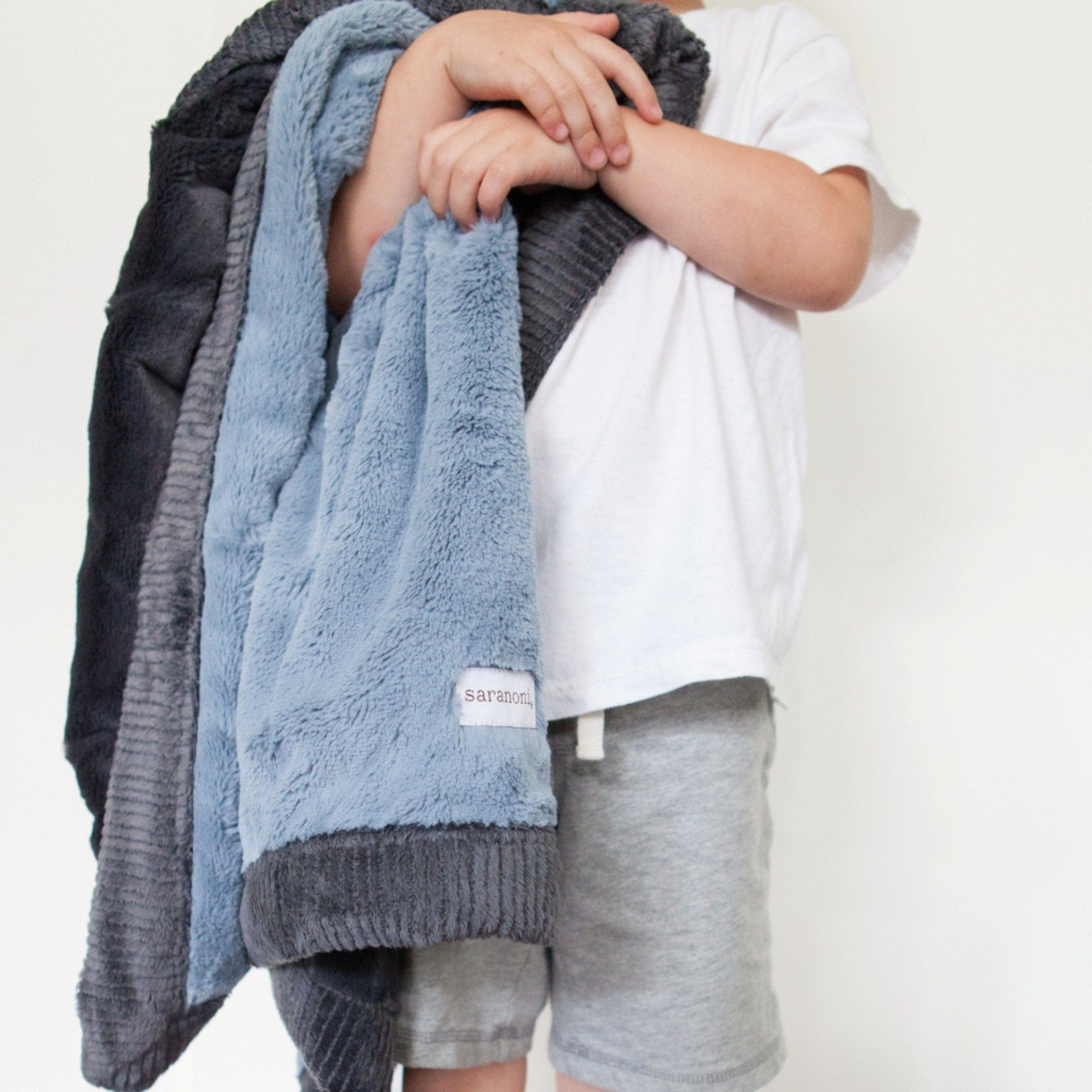 Slate Blue Charcoal Lush Toddler To Teen Blanket Saranoni