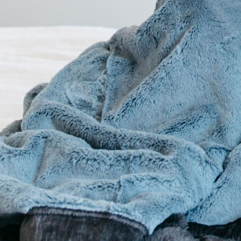 Slate Blue Charcoal Lush Mini Blanket