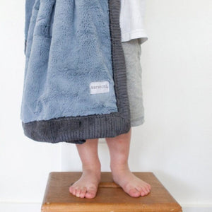Slate Blue Charcoal Lush Luxury Receiving Blanket