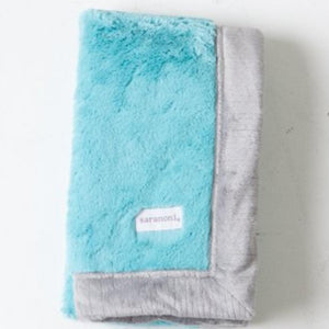 Aqua Gray Lush Receiving Blanket
