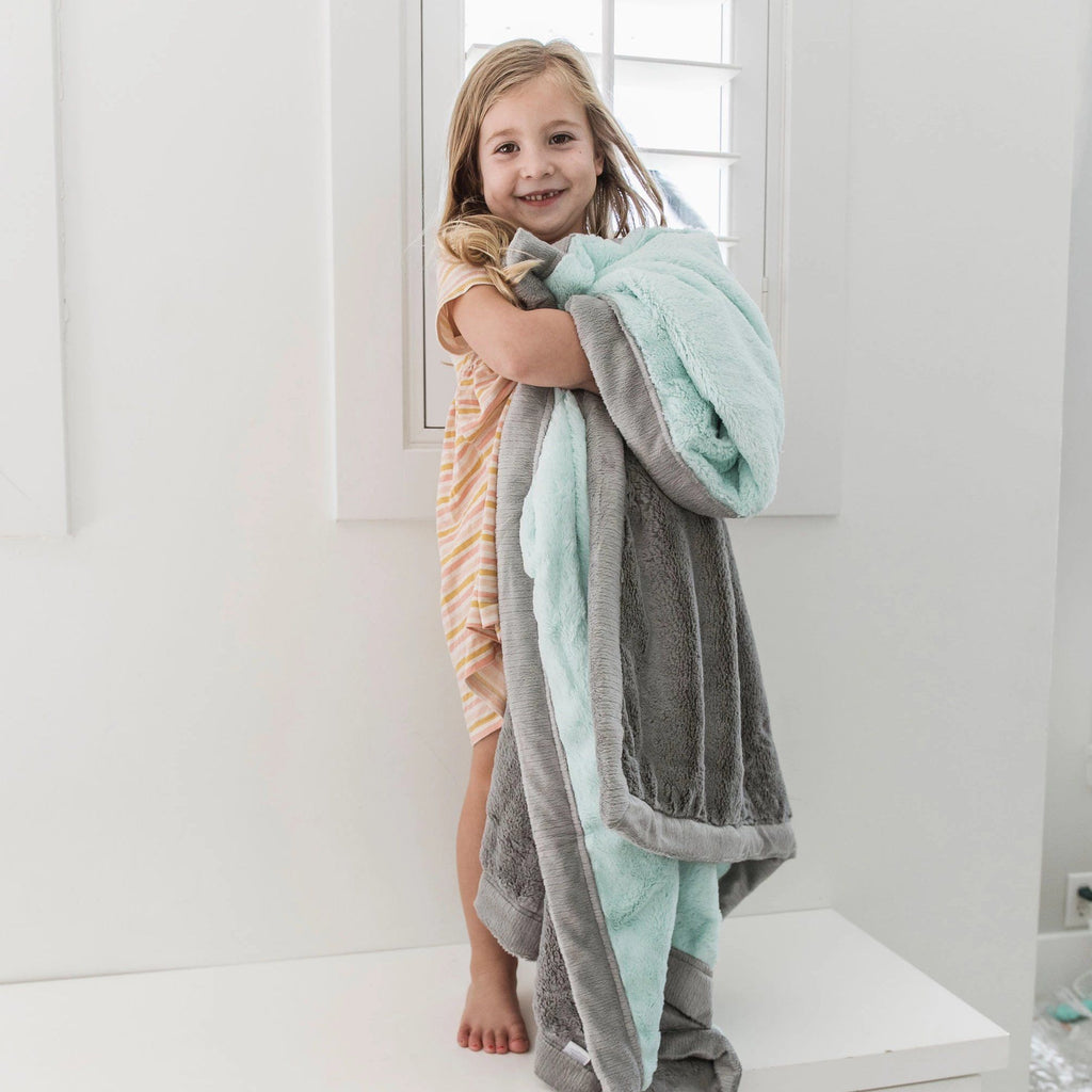 Mint Gray Lush Toddler to Teen Blanket