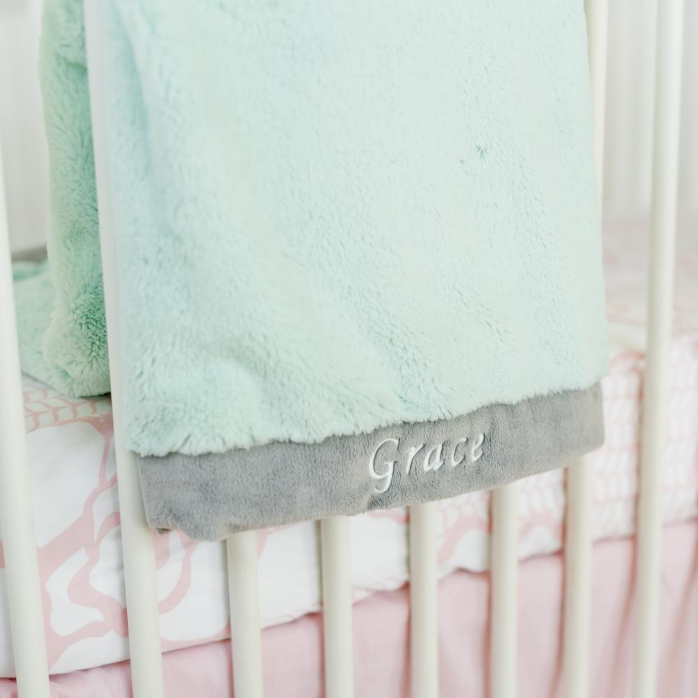 Mint Gray Lush Receiving Blanket