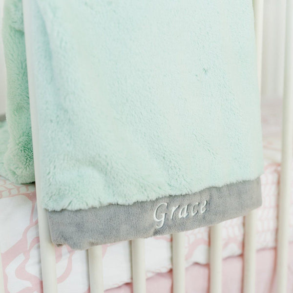 soft warm cozy lush plush mint gray baby receiving blanket