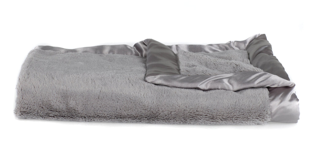Gray Lush Satin Border Mini Blanket