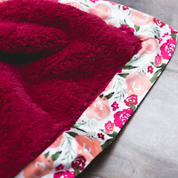 Raspberry Lush Floral Satin Border Blanket