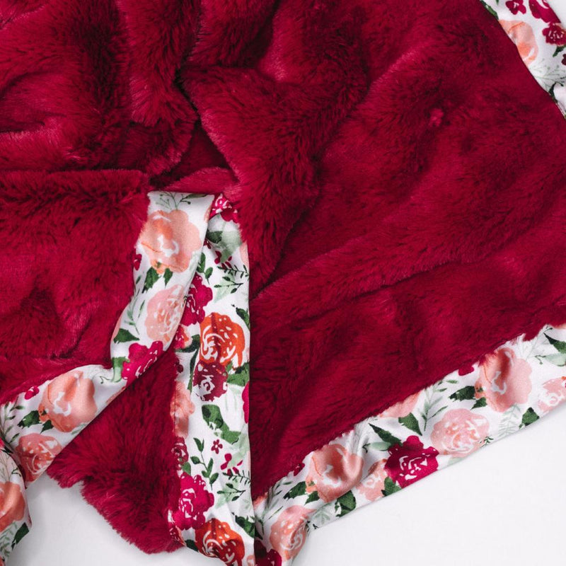 Raspberry Lush Floral Satin Border Mini Blanket
