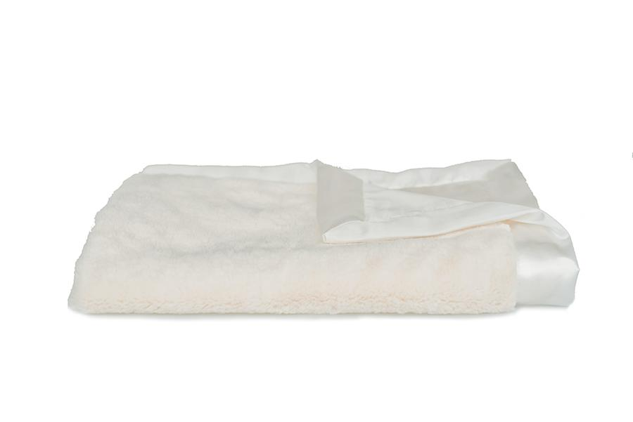 Ivory Lush Satin Back Mini Blanket