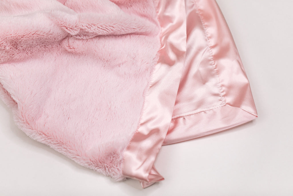 Light Pink Lush Satin Back Mini Blanket