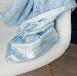 Light Blue Lush Satin Back Receiving Blanket